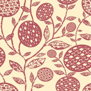 Abstract Flower - Grapefruit on Gentle Ochre
