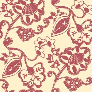 Stylised Floral - Grapefruit on Gentle Ochre