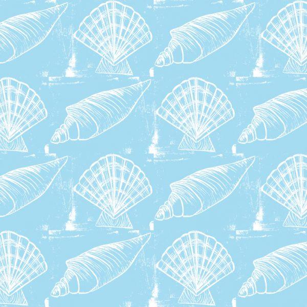 Sea Shells - White on Blue