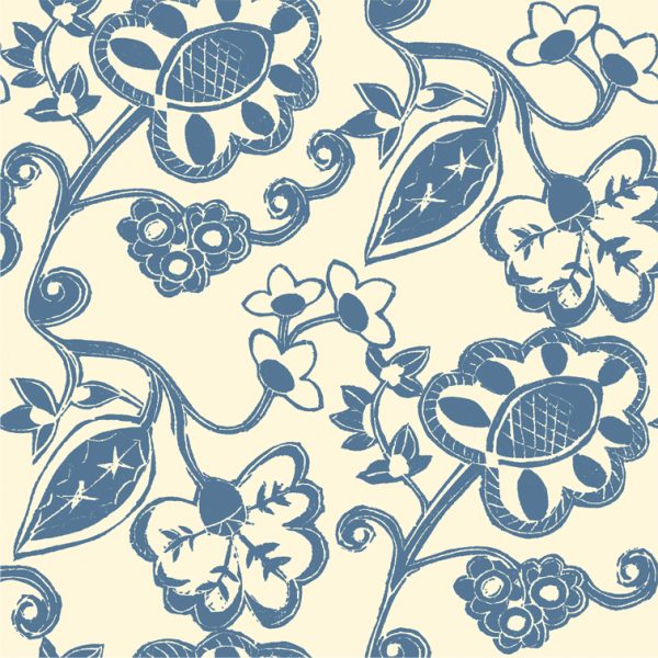 Stylised Floral - Petrol on Oyster