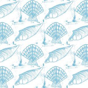 Sea Shells - Blue on White