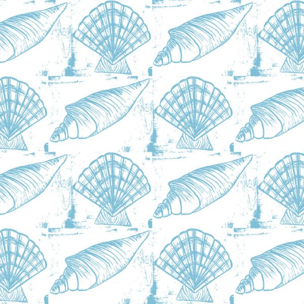Sea Shells - Blue on White